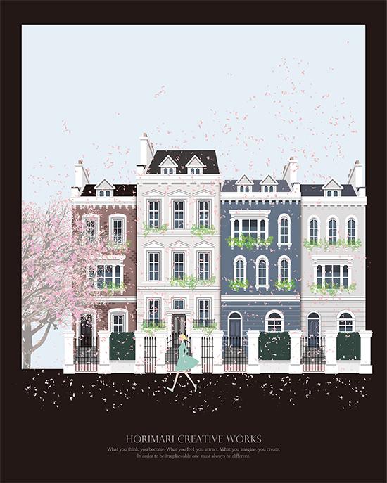 ホリマリイラストレーション建物風景_春