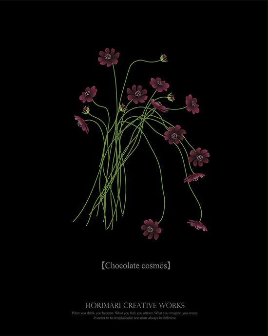 ホリマリ プチデザイナーコースイラストレーターでお花を描く。チョコレートコスモスが可愛すぎて感動!
