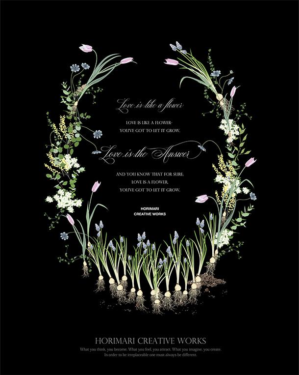 プチ・デザイナーコース 課題 「お花のメッセージカード ブラック」